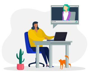 Illustration of remote therapy session taking place over a video call