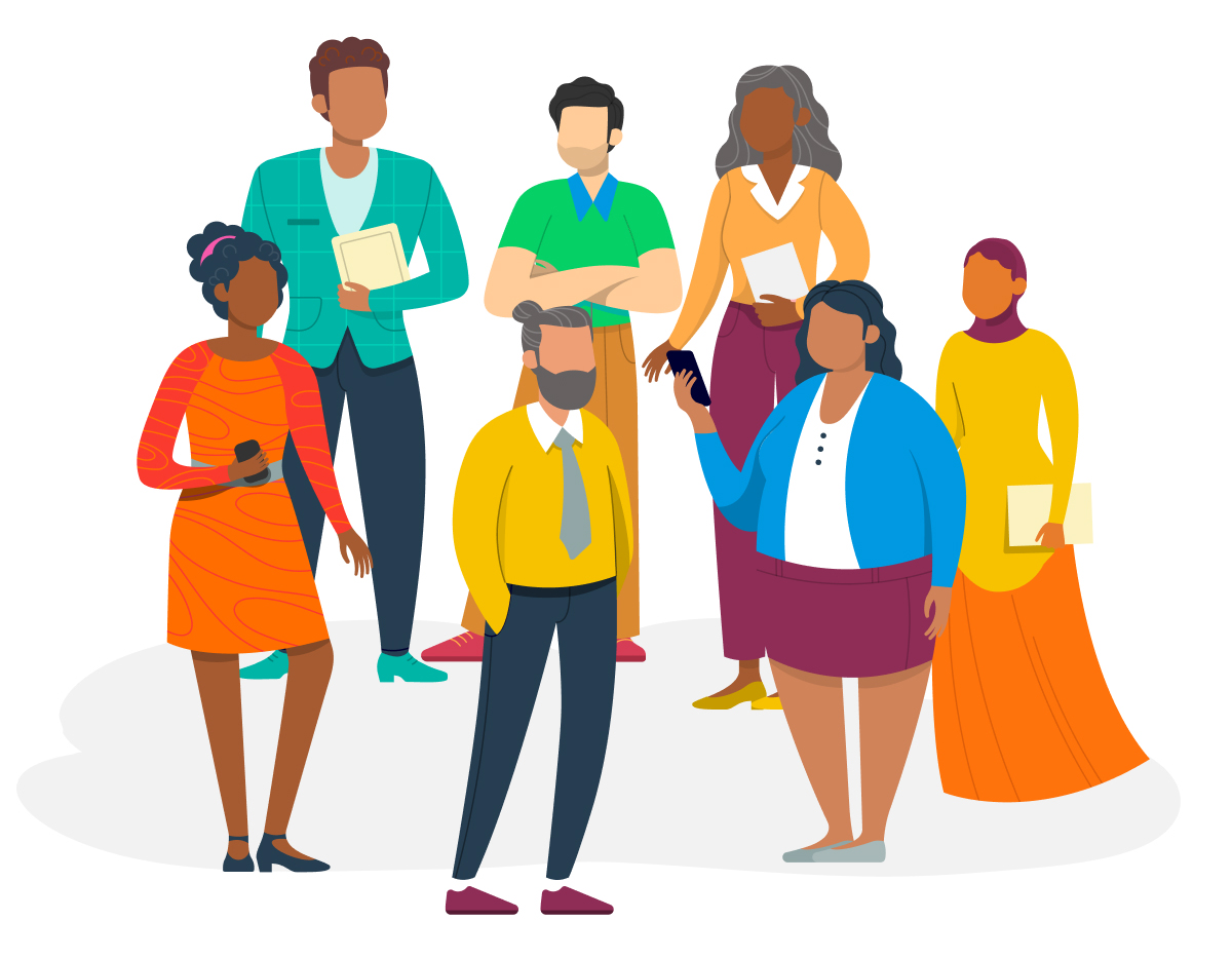 Illustration of a diverse group of team members