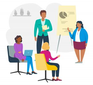 Illustration of team meeting, with two people doing a presentation